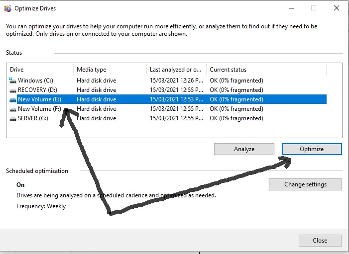 Select the Drive to Optimize